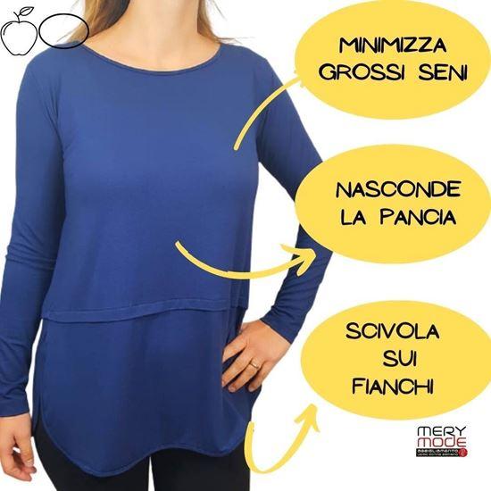 Immagine di T-shirt donna manica lunga con piegone retro art.E024