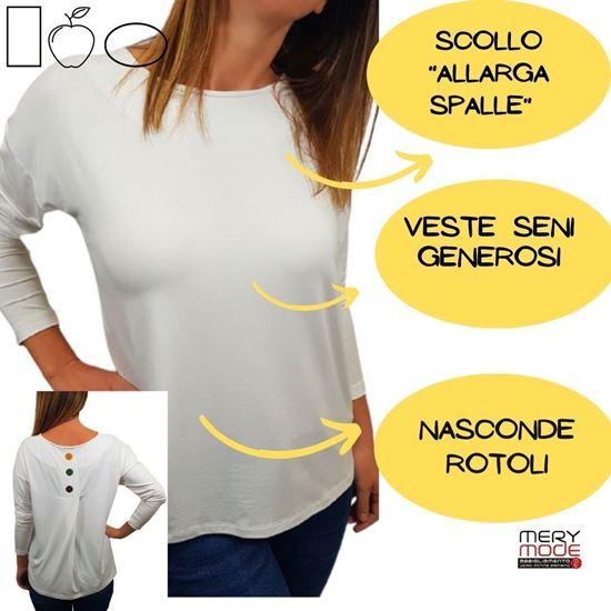 Immagine di T-shirt donna manica lunga 3 bottoni retro art.E243