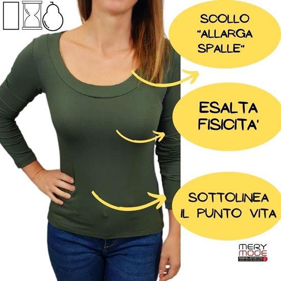 Immagine di T-shirt donna manica lunga scollo madonna E249