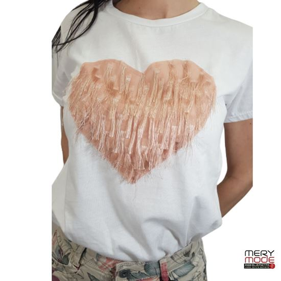 Immagine di T-shirt donna cotone cuore sfrangiato art.718